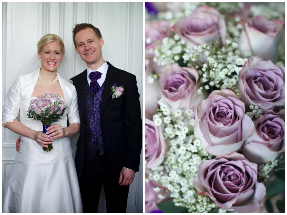 Pirrigt brudpar innan vigseln i Hjorthagens kyrka Fotograf Erika Aminoff