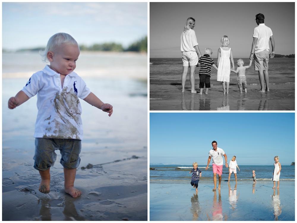 Familjefoto på stranden i Thailand