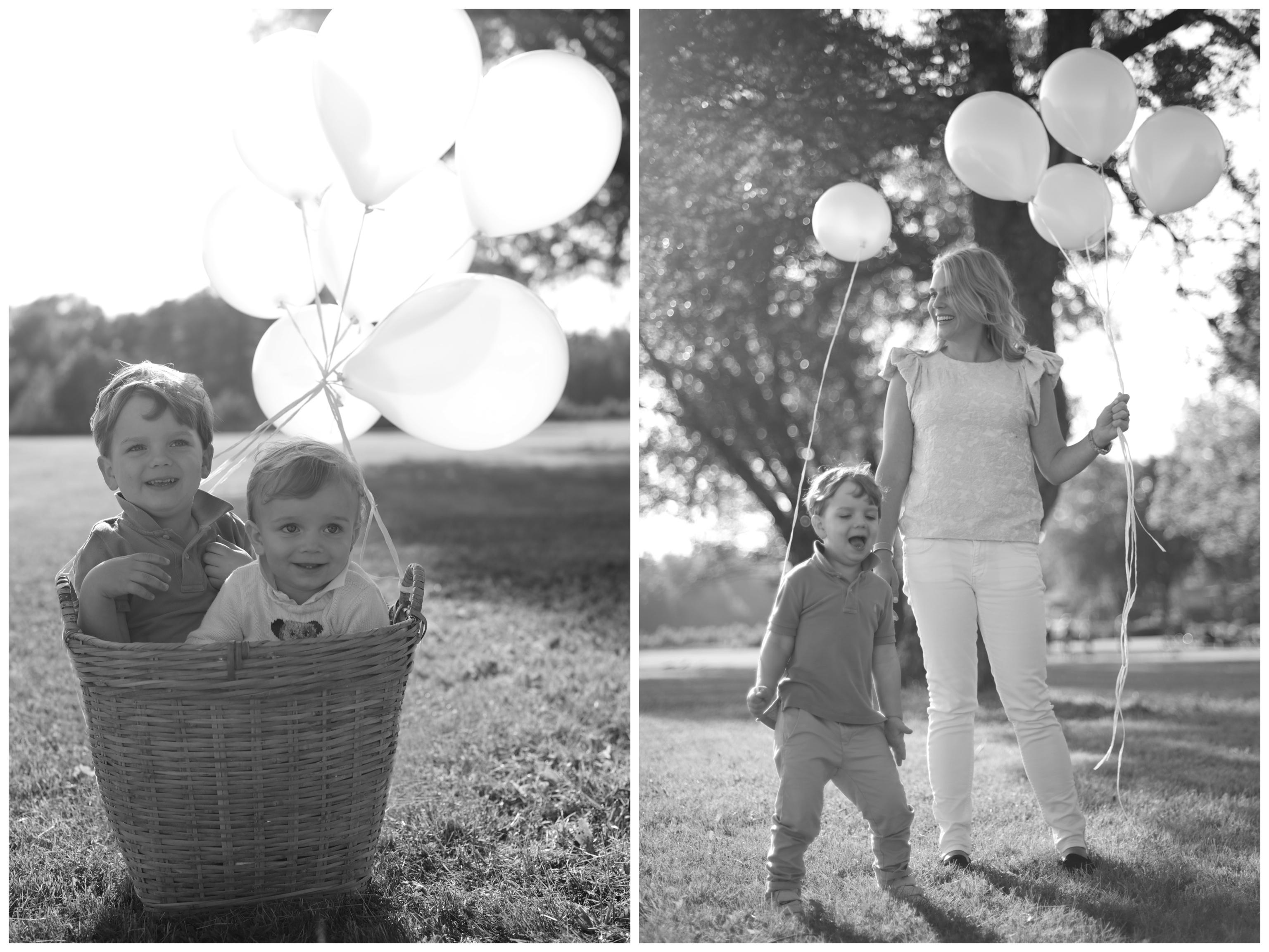 Familjefotografering med ballonger Barnfotograf i Stockholm