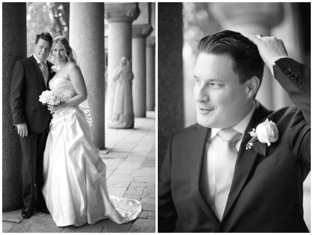 Brudpar vid Stadshuset före deras bröllop. Erika Aminoff Photography