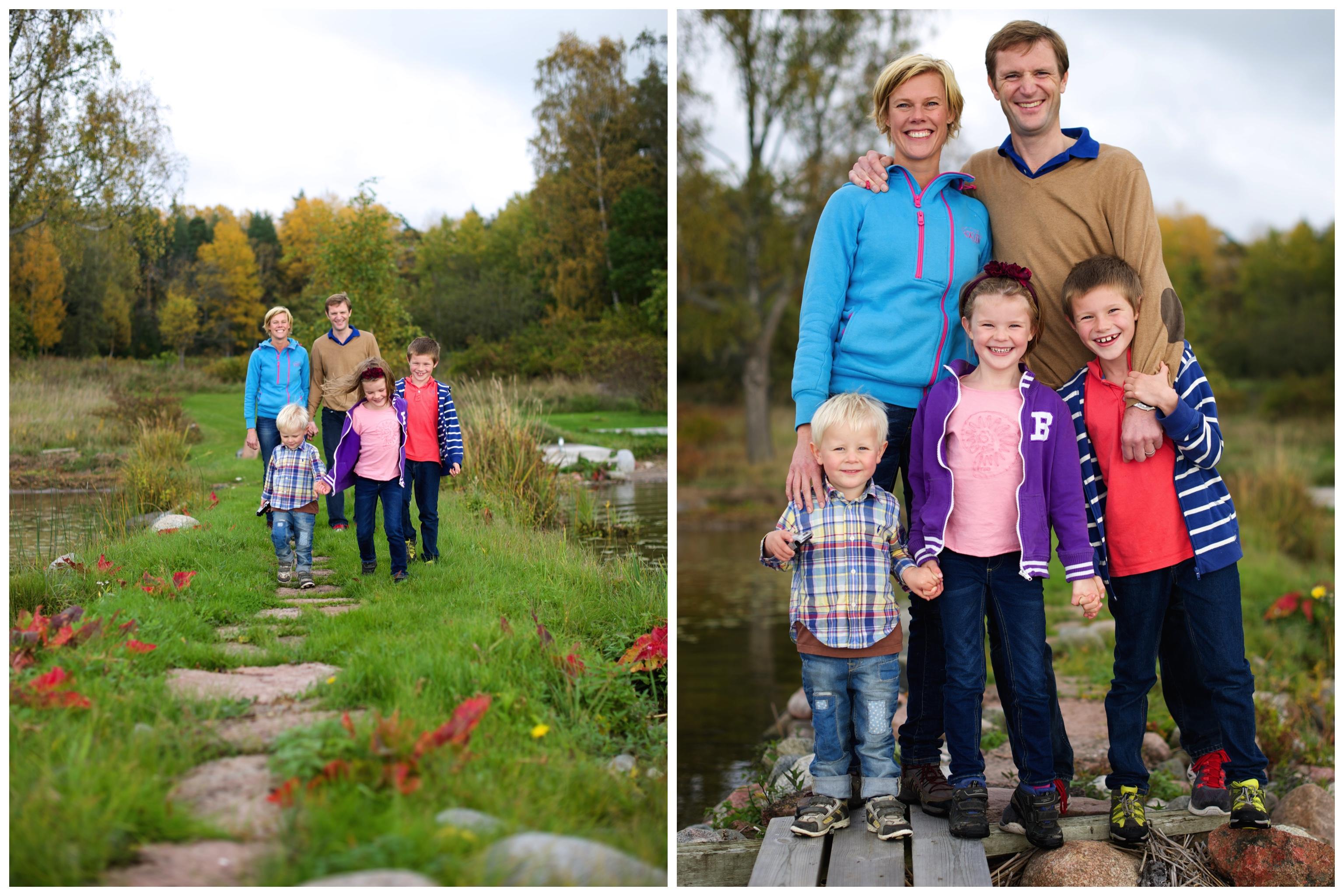 Familjefotografering på Ekerö Levande familjeporträtt Naturligt familjefoto