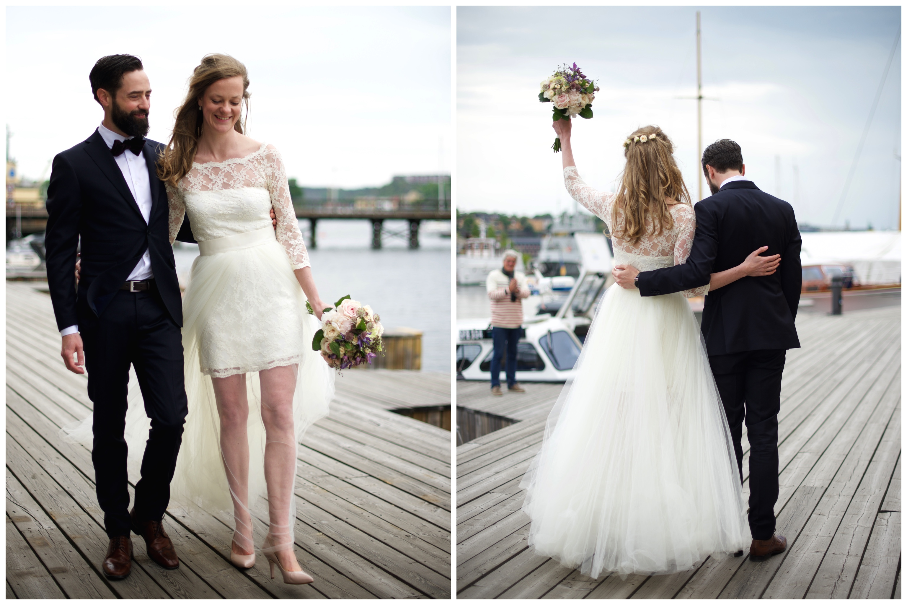 Promenad på bryggan som nygifta efter bröllop på Oaxen på Djurgården
