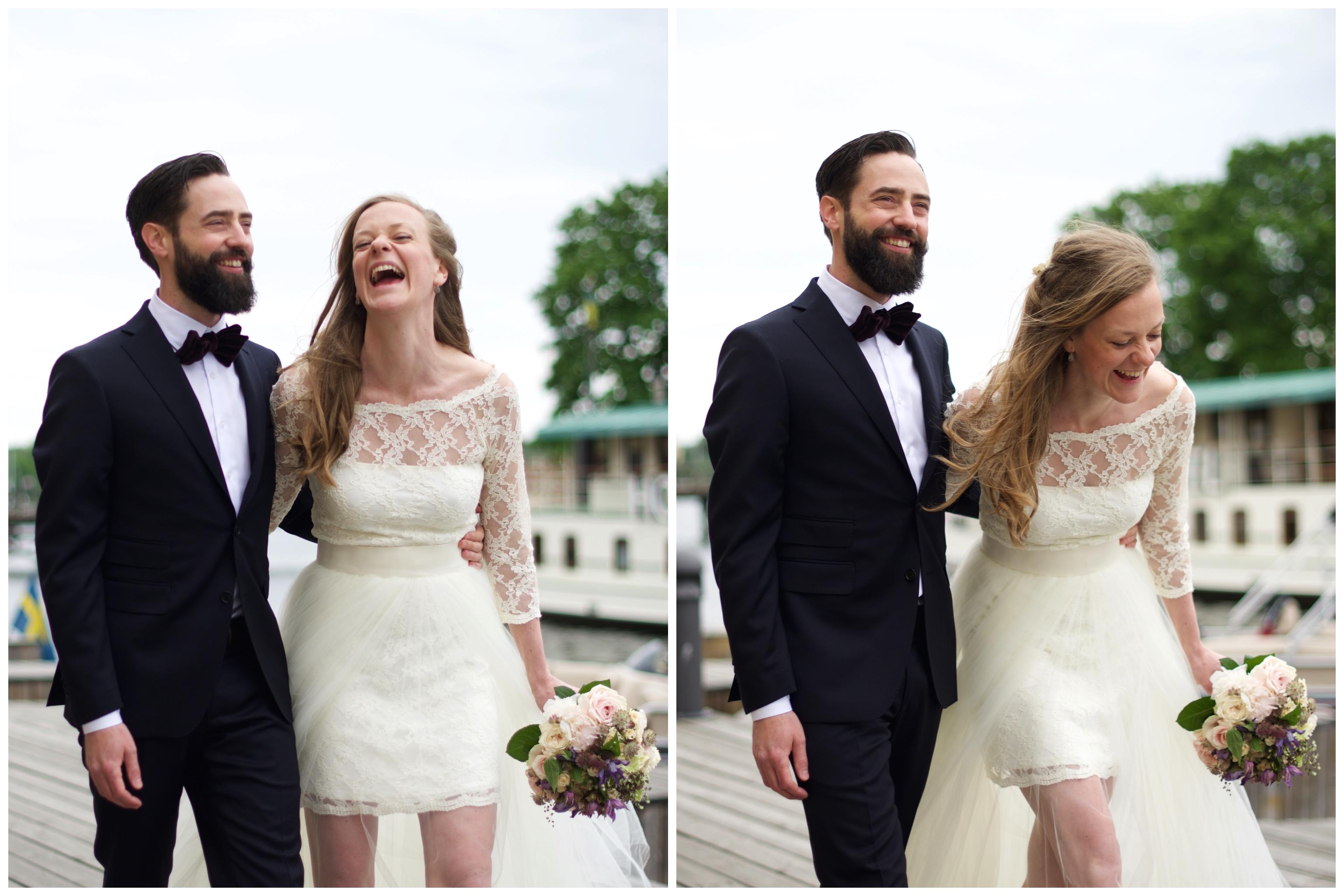 Bröllop på Oaxen med fotografering på bryggan utanför. Fotograf Erika Aminoff