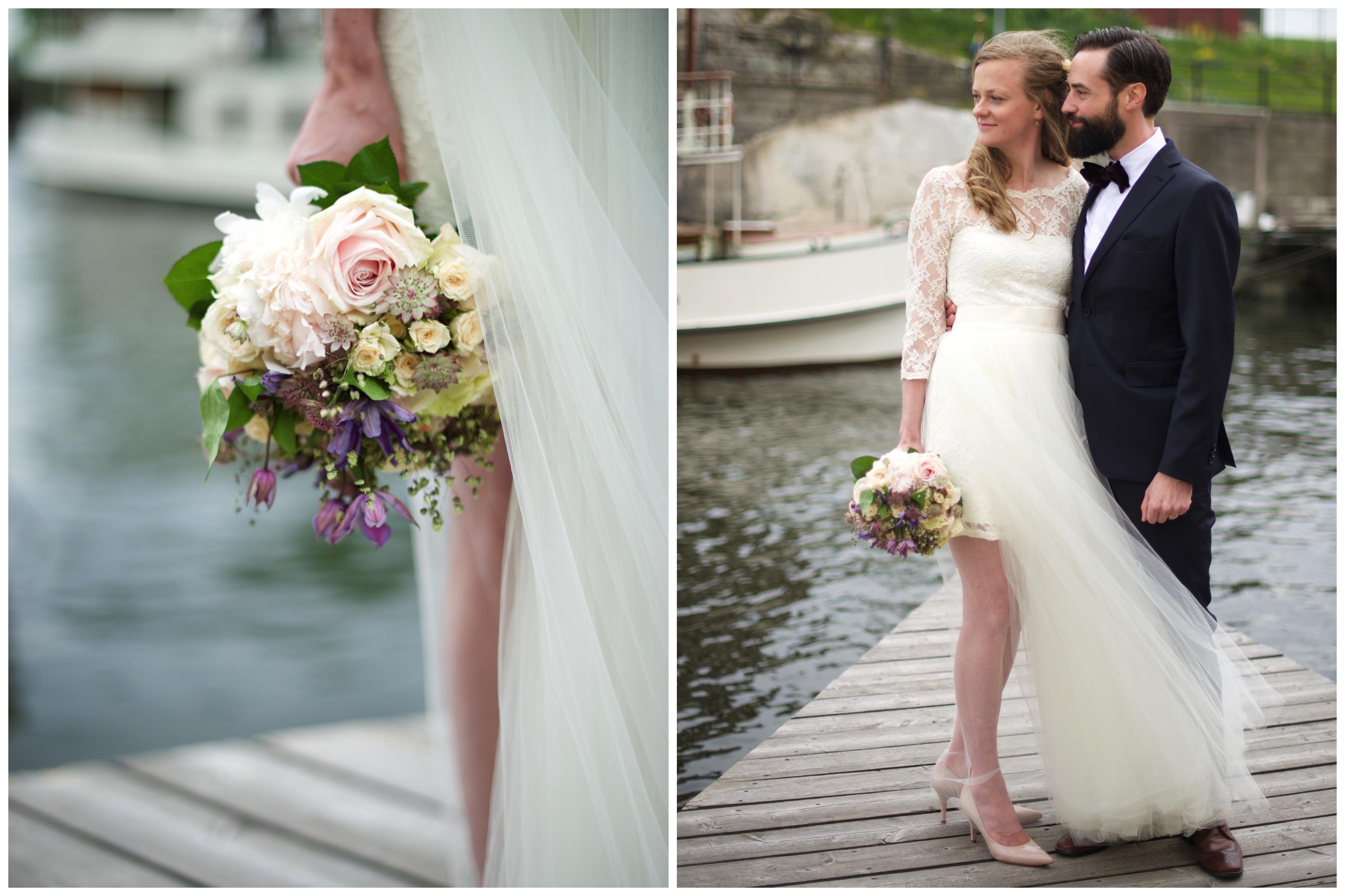 Nygifta på bryggan vid Oaxen på Djurgården. Fotograf Erika Aminoff