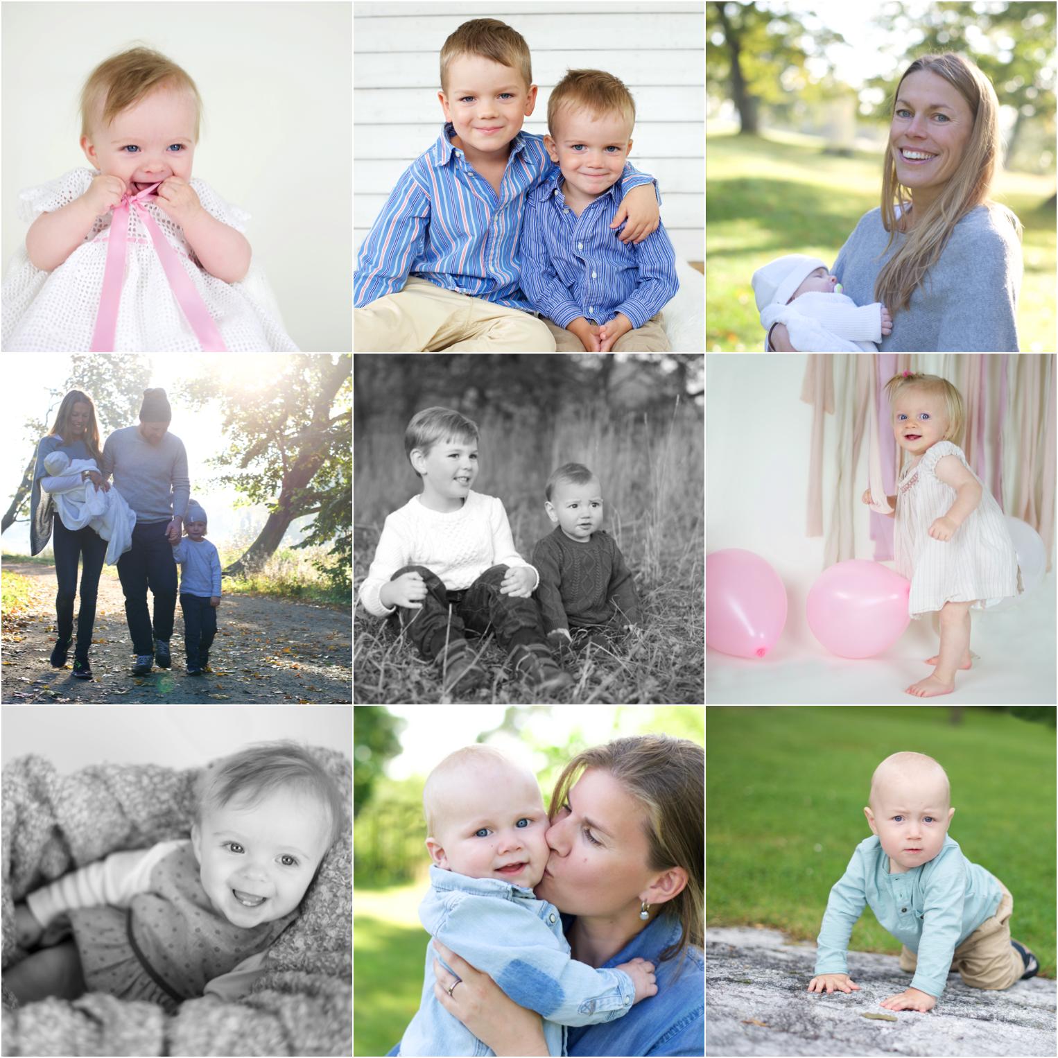 Favoriter från Erika Aminoffs barnfotograferingar i ett collage