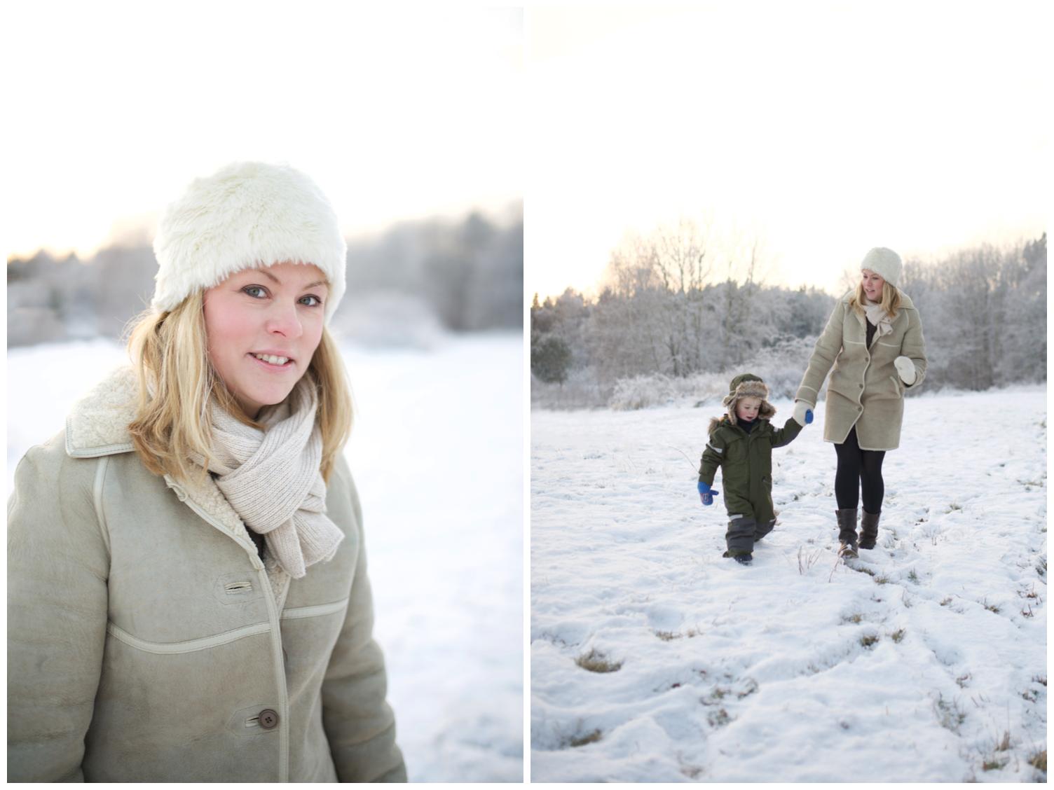 Familjefotografering i vackraste vinterljuset i Täby med fotograf Erika Aminoff