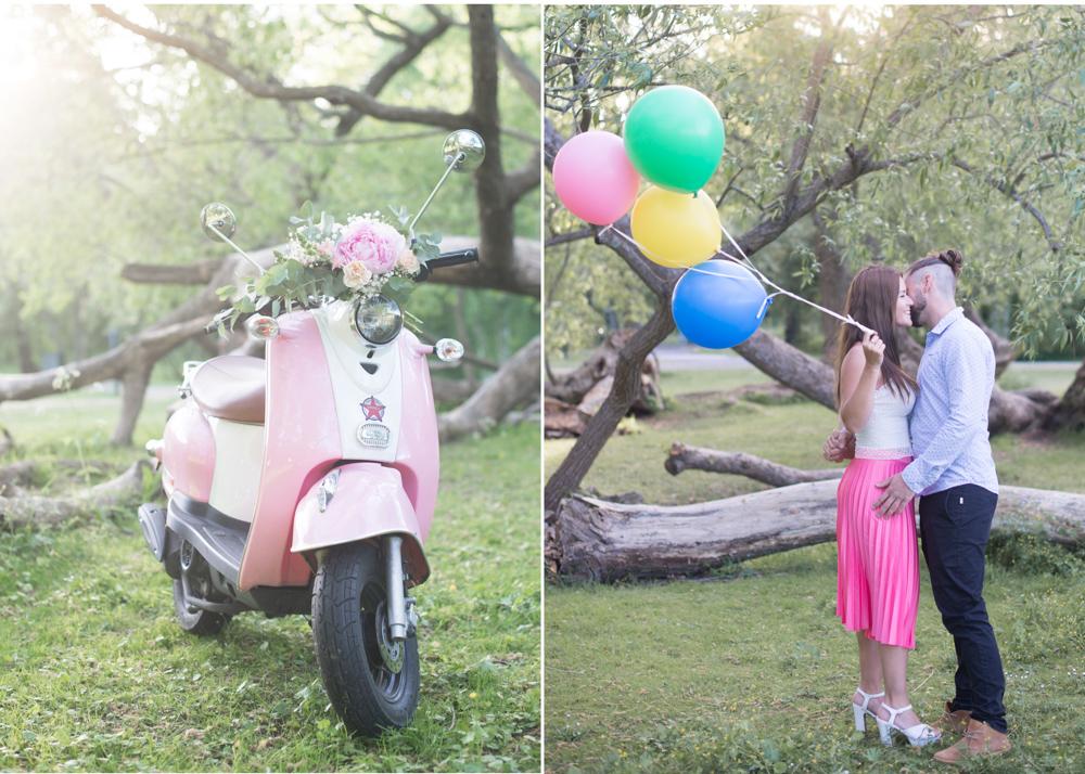 Parfotografering med rosa vespa och ballonger Fotograf Djurgården Erika Aminoff