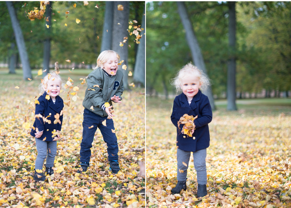 Fotografering på Drottningholm - höstfotografering familj utomhusfotografering Bromma Lidingö Täby Danderyd