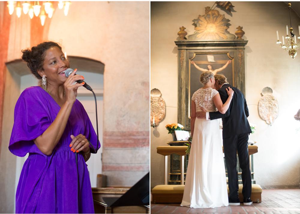 Jessica Folcker sjunger på bröllop i Lidingö kyrka - Bröllopsfotograf Lidingö Erika Aminoff