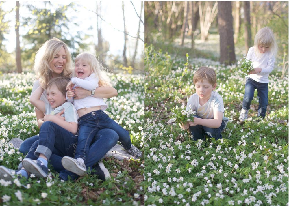 Familjefotografering bland vitsippor Täby Danderyd Lidingö