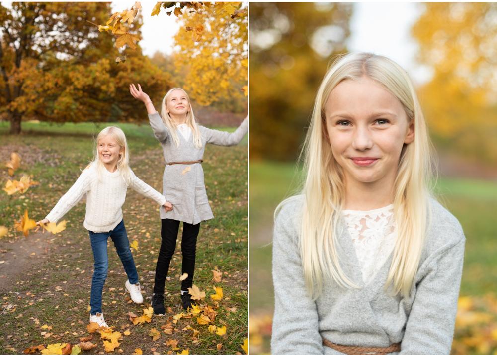 Höstig barnfotografering i Stockholm LövkastningTäby Fotograf Erika Aminoff