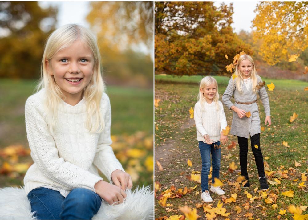höstig barnfotografering i Stockholm lövkastning Fotograf Lidingö Danderyd Täby Erika Aminoff