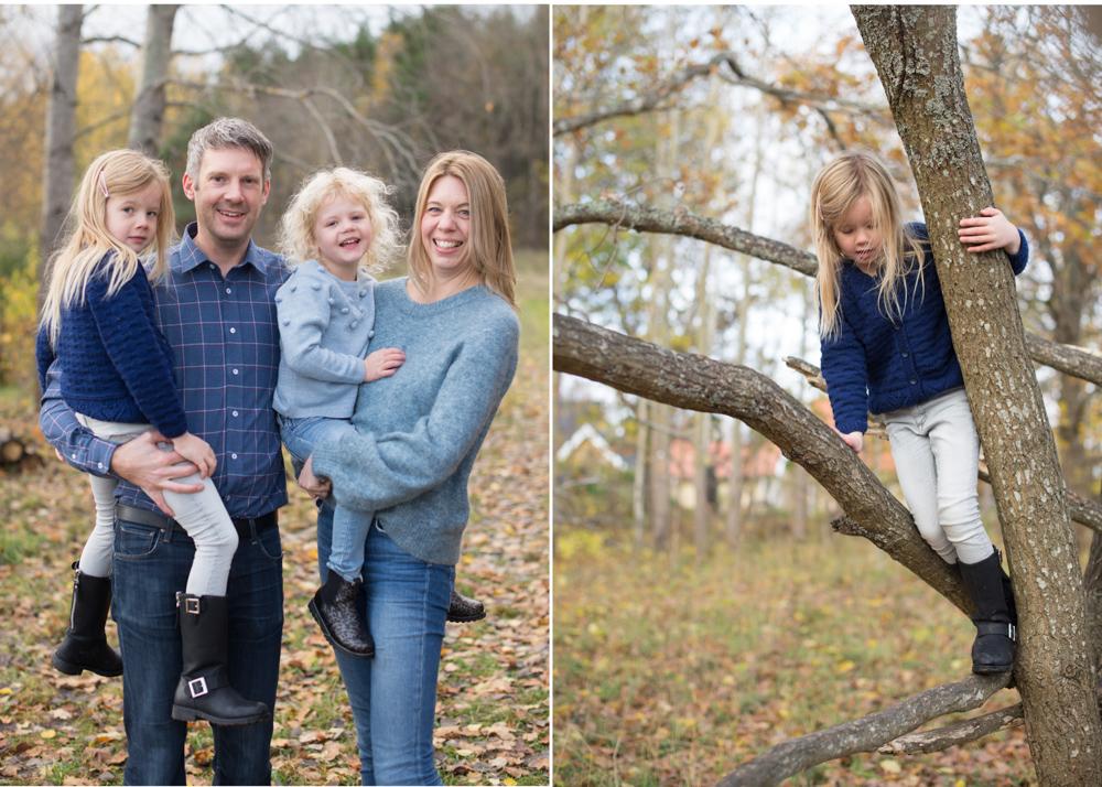 Familjefotografering bland höstlöv fotograf Erika Aminoff