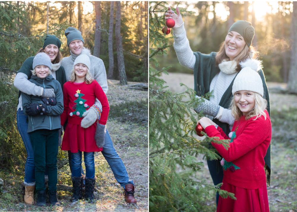 Familjefotografering i skogen Julkortsfotografering Täby Stockholm Fotograf Erika Aminoff