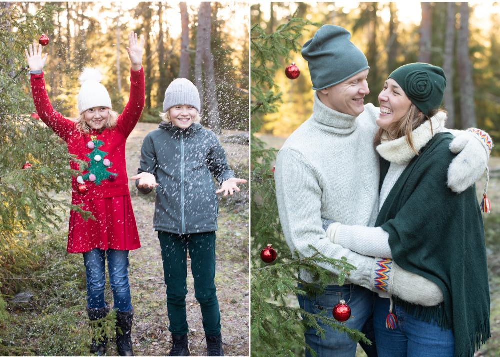 Familjefotografering i skog med låtsassnö och julkulor Fotograf Erika Aminoff
