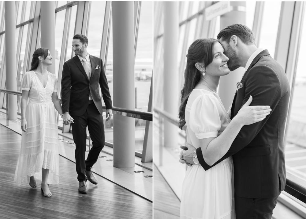 Hemlig vigsel på Arlanda brudpar gående i Sky City