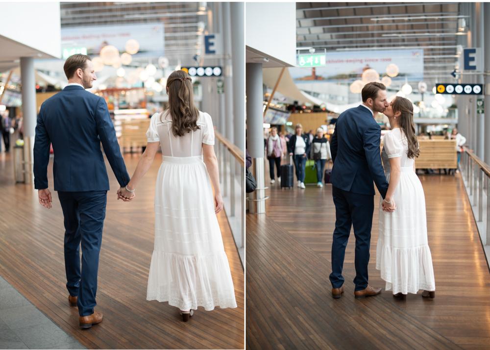 Hemligt bröllop på Arlanda brudpar gående vid Sky city