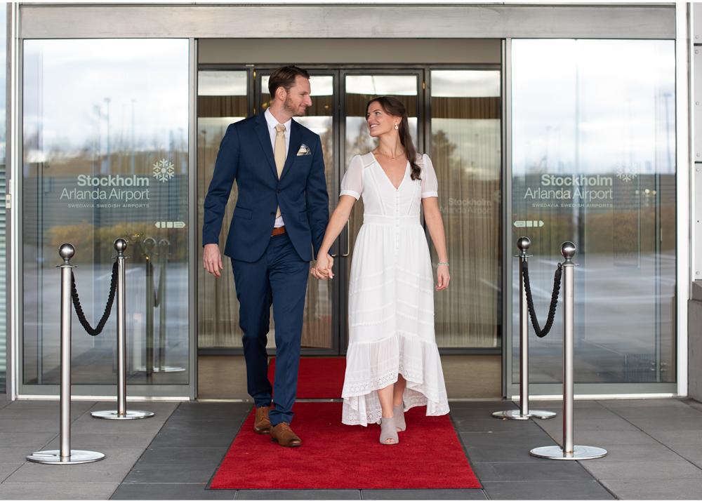 Brudpar på röda mattan Arlanda VIP-service