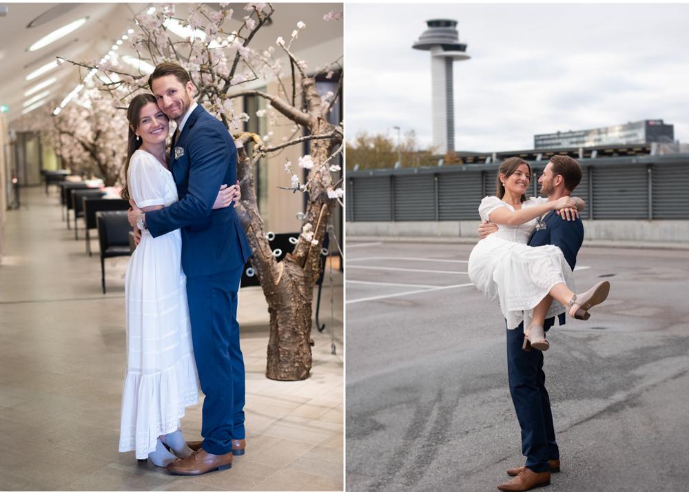 Nygift brudpar i Arlanda VIP-rum efter en hemlig vigsel
