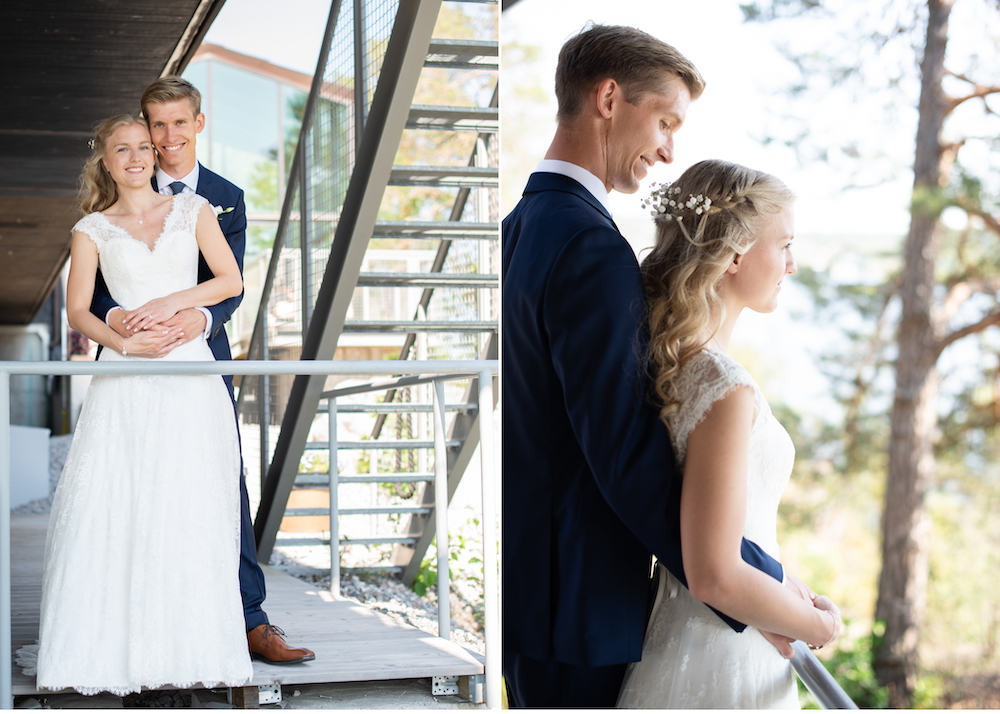 Brudpar vid Högberga gård Lidingöbröllop